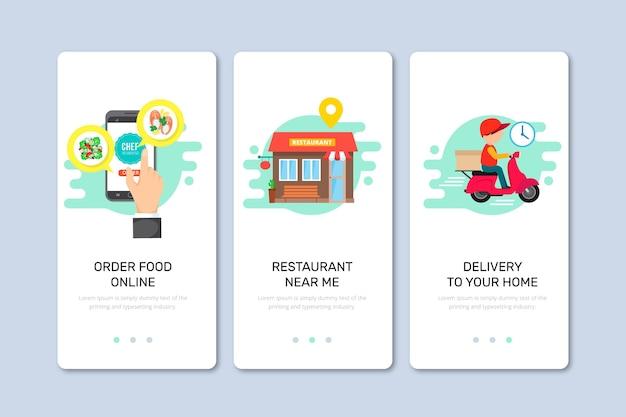 Schermi onboarding di consegna del cibo per l'applicazione Vettore gratuito