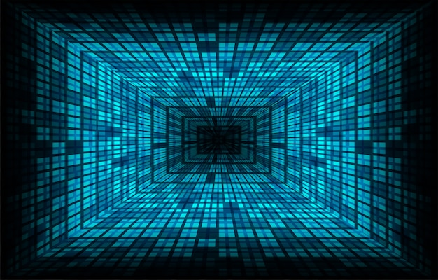 Schermo cinematografico a led blu per presentazioni di film. priorità bassa di tecnologia astratta leggera Vettore Premium