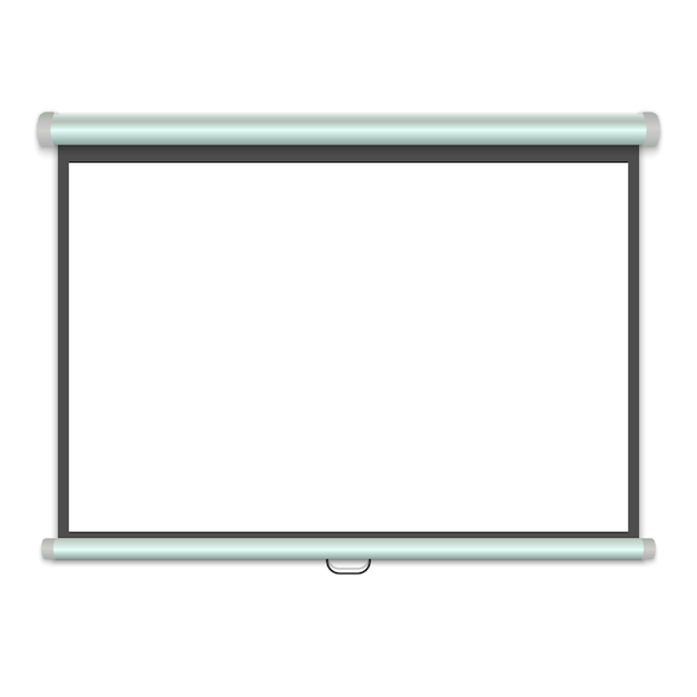 Schermo di proiezione realistico 3d, lavagna di presentazione. illustrazione vettoriale Vettore Premium