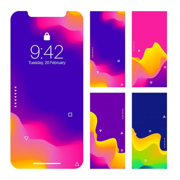 Schermo di smartphone con l'insieme astratto di progettazione della carta da parati ondulata. Vettore Premium