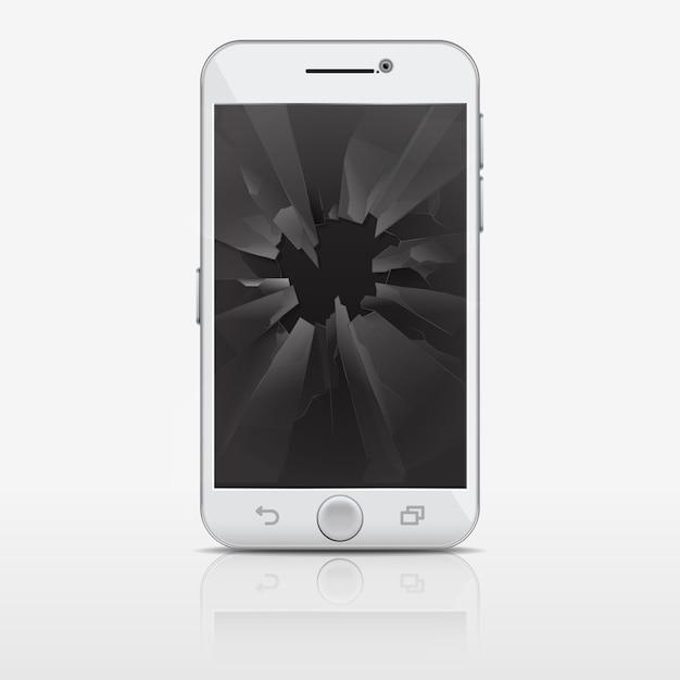 Schermo di vetro rotto del telefono, illustrazione dello smartphone. cellulare con vetri rotti Vettore Premium