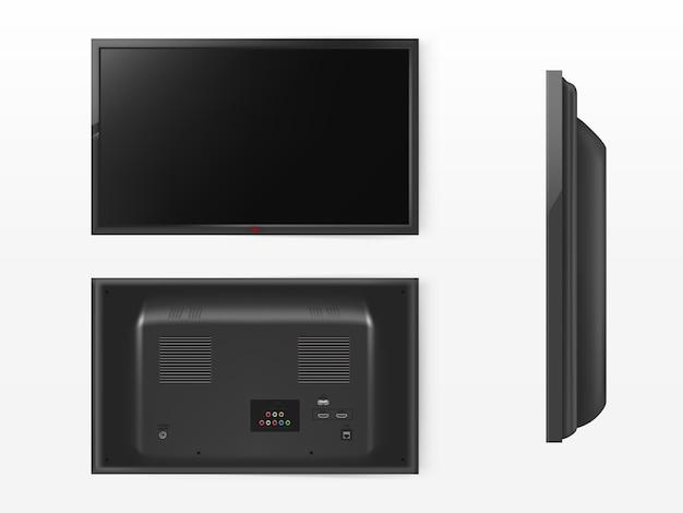 Schermo lcd, mock up della televisione al plasma. vista frontale, posteriore e laterale del moderno sistema video. Vettore gratuito
