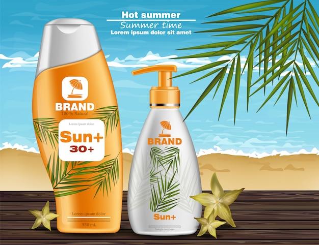 Schermo solare e crema protettiva Vettore Premium