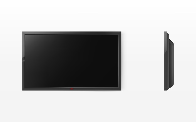 Schermo tv, pannello lcd nero moderno per hdtv, display widescreen Vettore gratuito