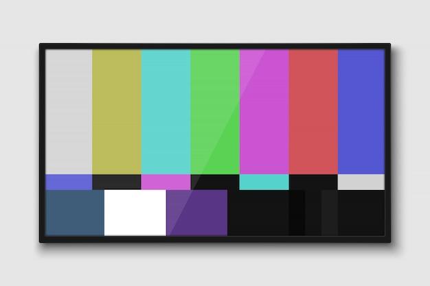 Schermo tv realistico. pannello lcd moderno con test senza segnale Vettore Premium