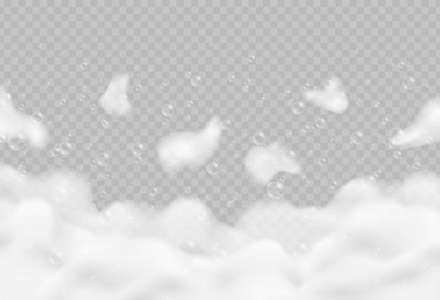 Schiuma da bagno realistica con bolle isolate. illustrazione scintillante di vettore della schiuma del sapone e dello sciampo. Vettore Premium