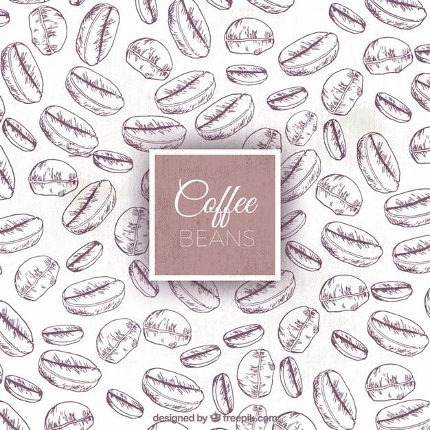 Schizzi di chicchi di caffè sfondo Vettore gratuito