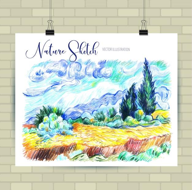 Schizzi di illustrazione in formato vettoriale. poster con bellissimi elementi del paesaggio. Vettore Premium