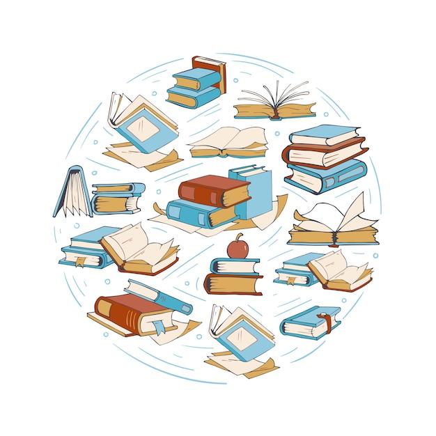 Schizzi di libri da disegno Vettore Premium