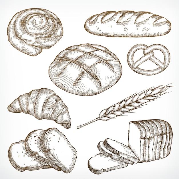 Schizzi di pane, disegno a mano, set Vettore Premium