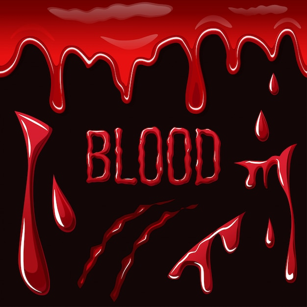 Schizzi di sangue su sfondo nero Vettore Premium