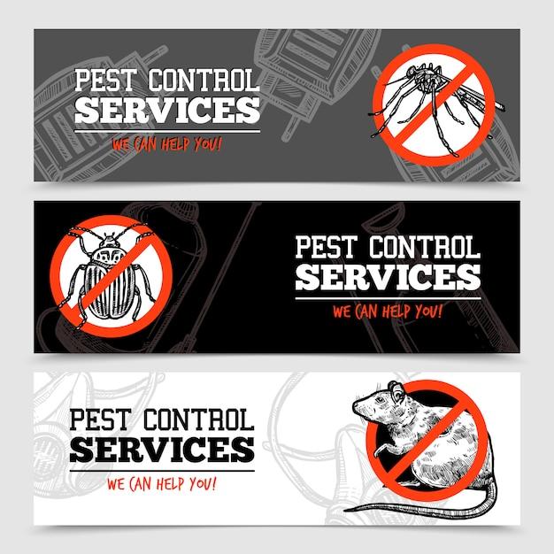 Schizzi insetti banner di controllo dei parassiti Vettore gratuito