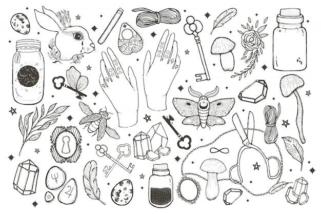 Schizzi l'illustrazione stabilita del grafico di vettore con i simboli disegnati a mano mistici ed occulti. Vettore Premium