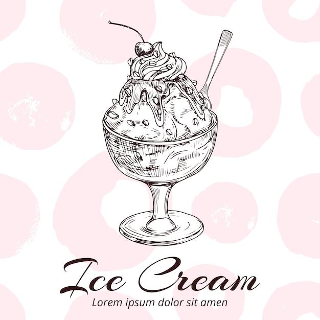 Schizzo del gelato nell'illustrazione della ciotola di vetro Vettore Premium