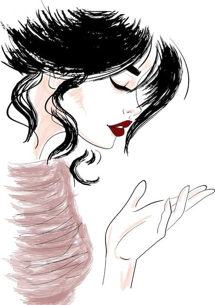 Schizzo del profilo della donna che osserva giù la mano Vettore Premium