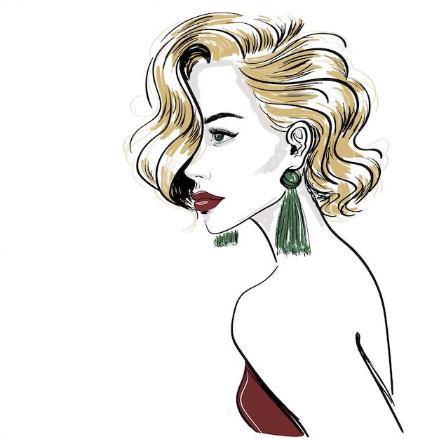 Schizzo della classica donna bionda con le onde dei capelli Vettore Premium