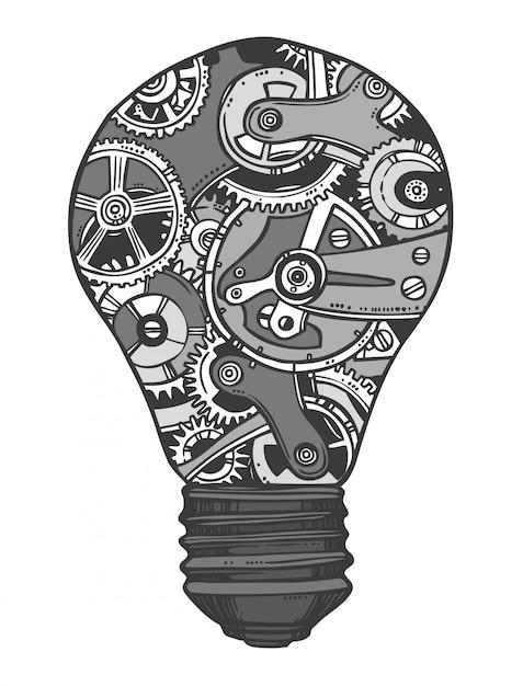 Schizzo della lampadina di ingranaggi Vettore gratuito