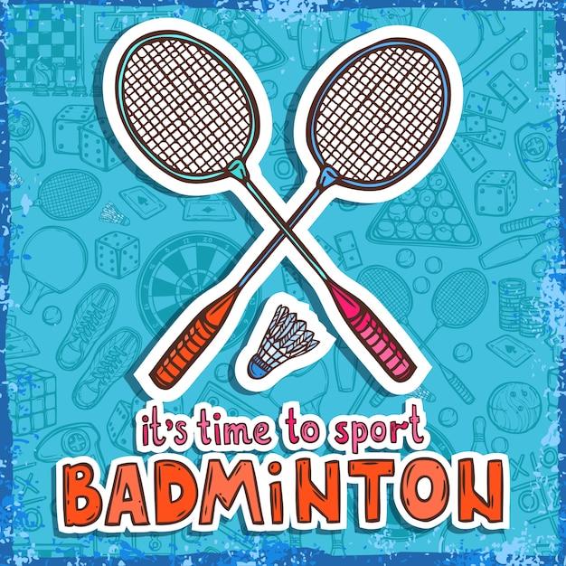 Schizzo di badminton. è tempo di fare sport Vettore gratuito