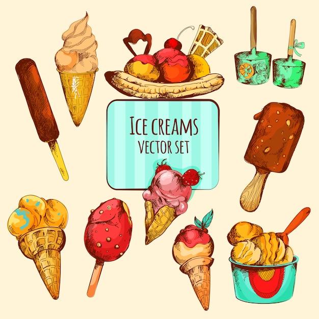 Schizzo di gelato colorato Vettore gratuito