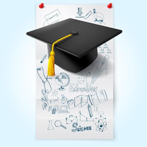 Schizzo di istruzione con cappello Vettore gratuito