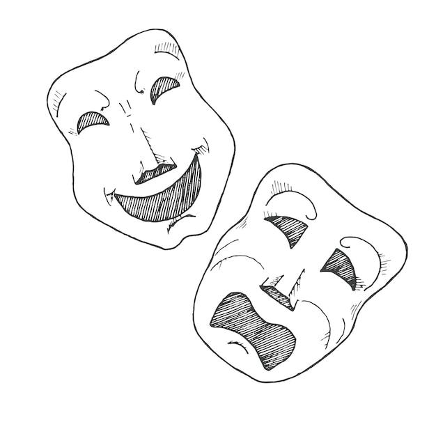 Schizzo di maschere teatrali. tragedia e commedia. Vettore Premium