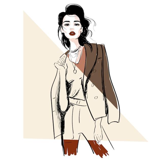 Schizzo di moda del modello in giacca Vettore Premium
