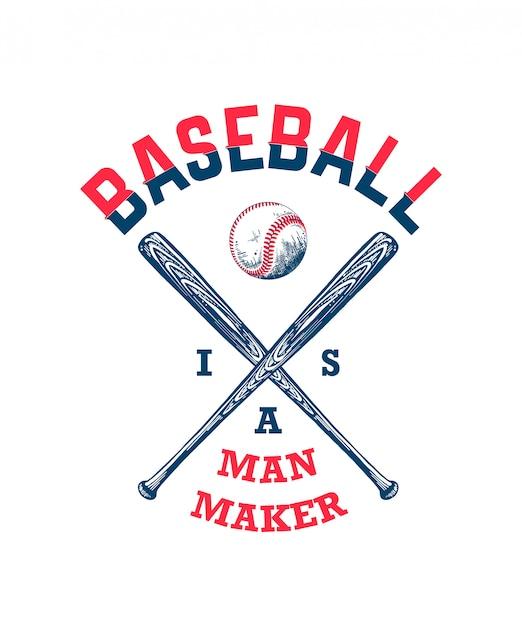Schizzo di palla da baseball e mazza con tipografia Vettore Premium