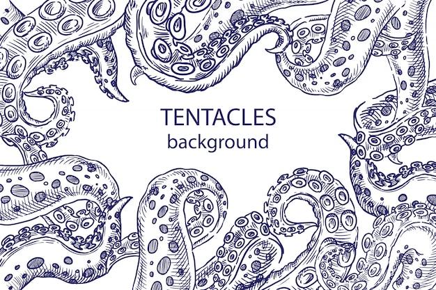 Schizzo di tentacoli di polpo Vettore Premium