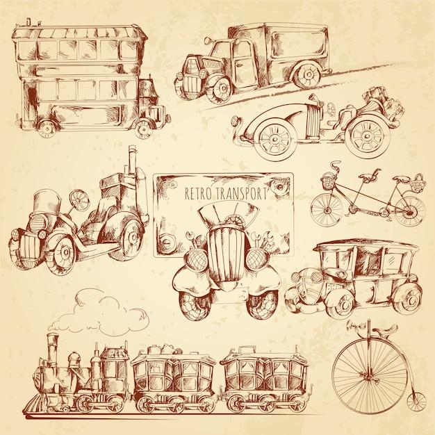 Schizzo di trasporto vintage Vettore gratuito