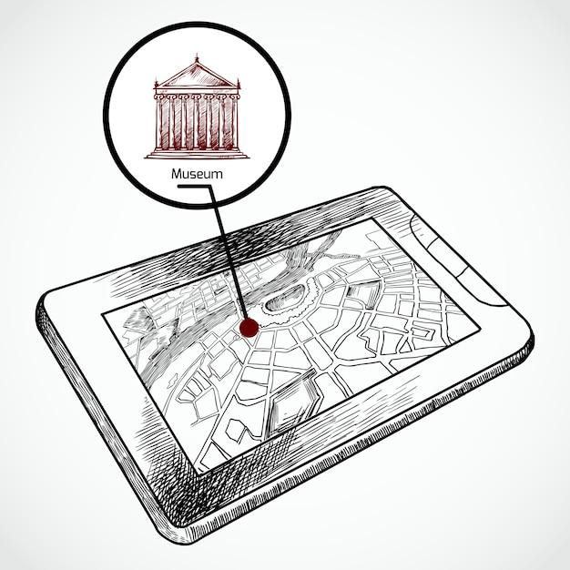 Schizzo disegnare tablet pc con mappa di navigazione Vettore gratuito