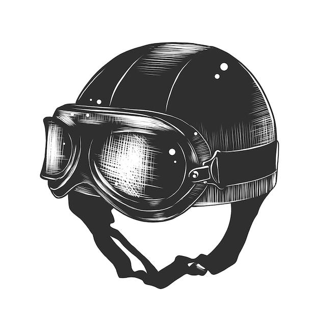Schizzo disegnato a mano del casco del motorcyrcle Vettore Premium