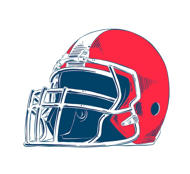 Schizzo disegnato a mano del casco football americano Vettore Premium