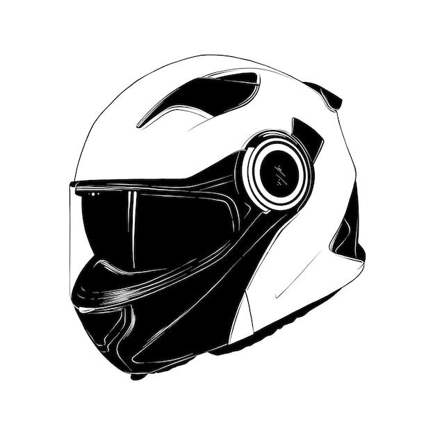 Schizzo disegnato a mano del casco moto in nero Vettore Premium