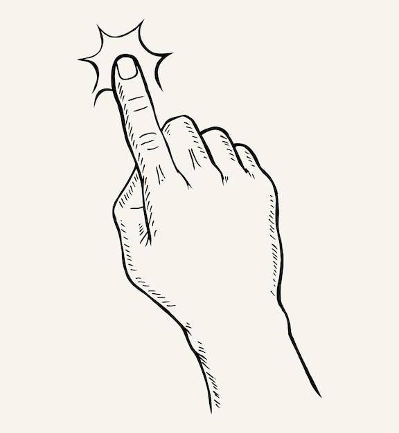 Schizzo disegnato a mano del gesto della mano Vettore Premium