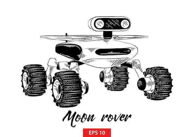 Schizzo disegnato a mano del rover luna in nero Vettore Premium