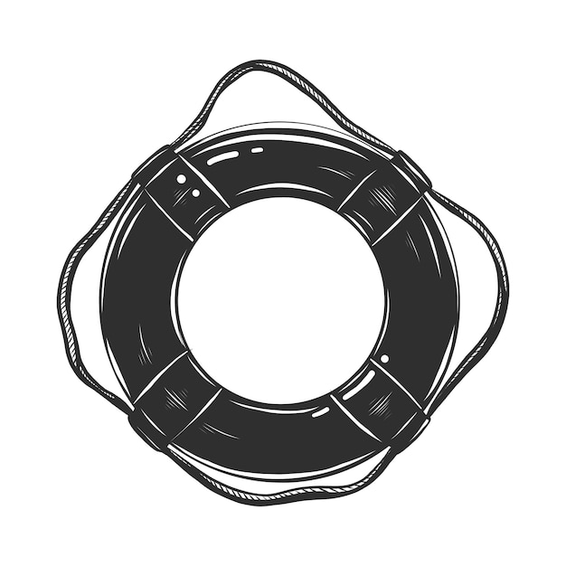 Schizzo disegnato a mano del salvagente in bianco e nero Vettore Premium