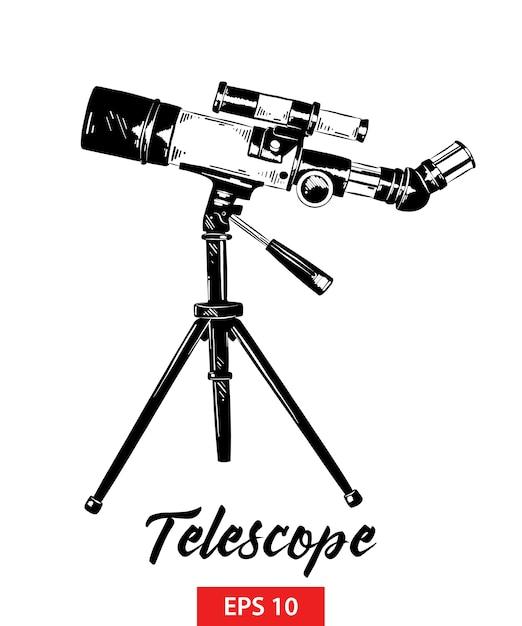 Schizzo disegnato a mano del telescopio in nero Vettore Premium