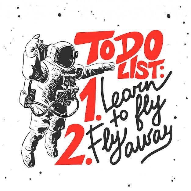 Schizzo disegnato a mano dell'astronauta con scritte Vettore Premium
