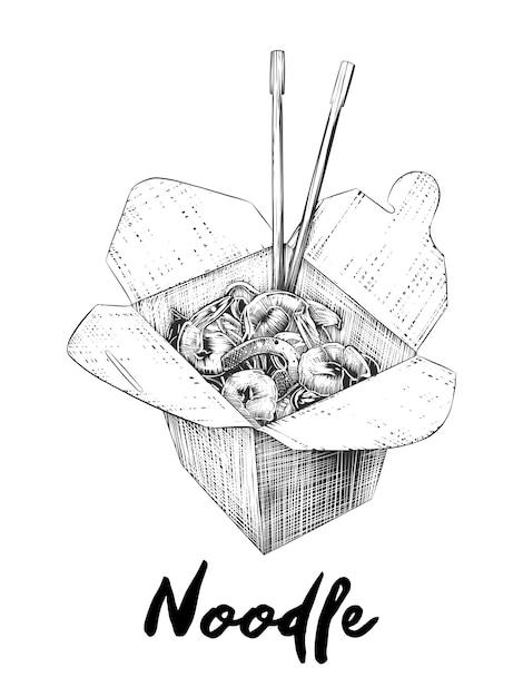 Schizzo disegnato a mano della scatola di tagliatelle in bianco e nero Vettore Premium