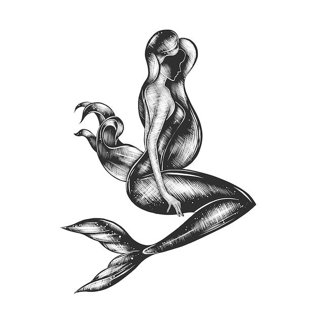 Schizzo disegnato a mano della sirena in bianco e nero Vettore Premium