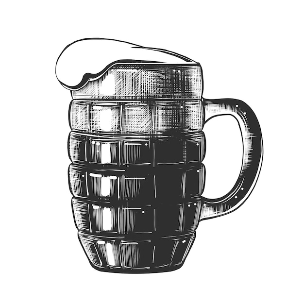 Schizzo disegnato a mano di bicchiere di birra in bianco e nero Vettore Premium