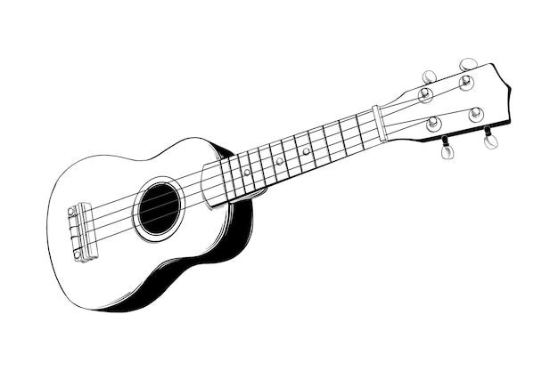 Schizzo disegnato a mano di chitarra hawaiana ukulele Vettore Premium