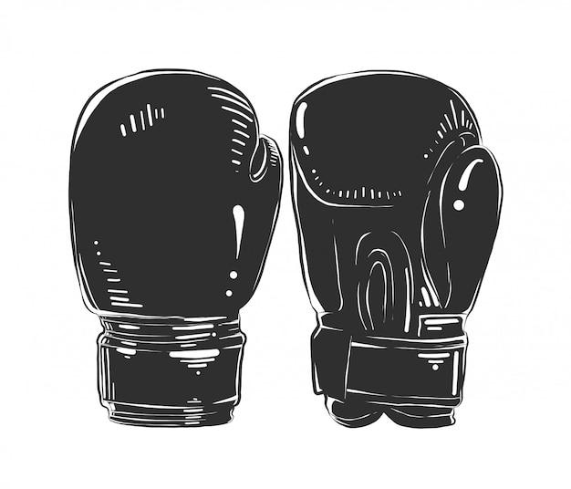 Schizzo disegnato a mano di guantoni da boxe in bianco e nero Vettore Premium