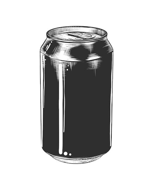 Schizzo disegnato a mano di lattina di alluminio in bianco e nero Vettore Premium
