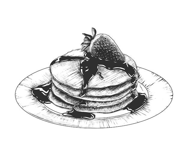 Schizzo disegnato a mano di pancake sul piatto Vettore Premium