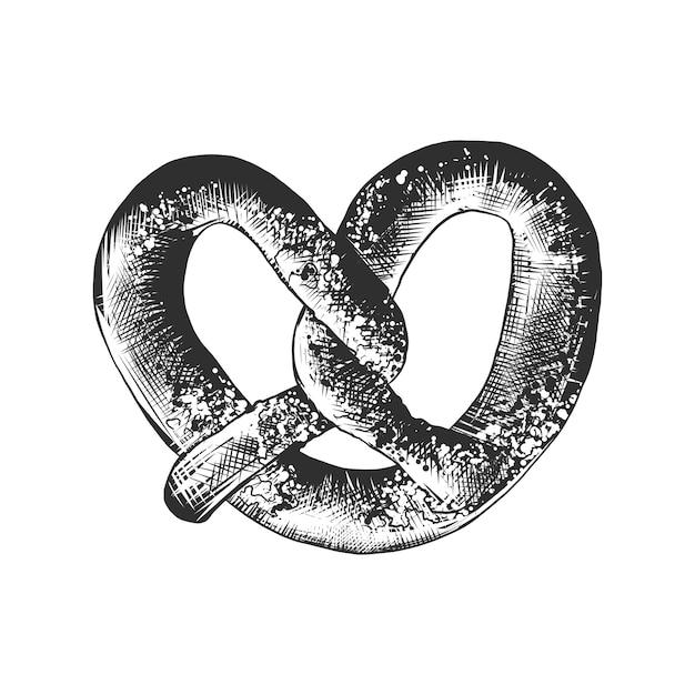 Schizzo disegnato a mano di pretzel con sesamo Vettore Premium