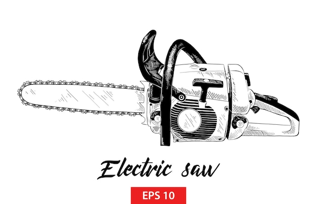 Schizzo disegnato a mano di strumento elettrico per seghe in nero Vettore Premium