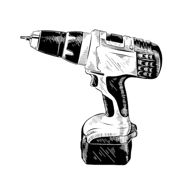Schizzo disegnato a mano di strumento trapano elettrico Vettore Premium
