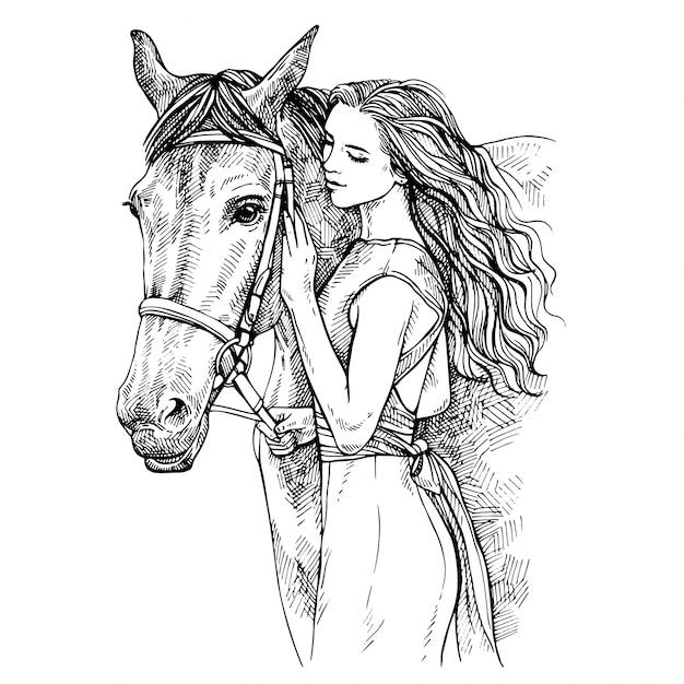 Schizzo donna e cavallo. giovane donna che accarezza un cavallo. bellezza a cavallo. illustrazione inchiostro disegnato a mano Vettore Premium