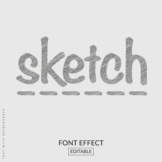 Schizzo effetto font di testo Vettore Premium